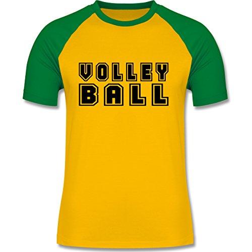 Shirtracer Volleyball - Volleyball Schriftzug - Herren Baseball Shirt Gelb/Grün