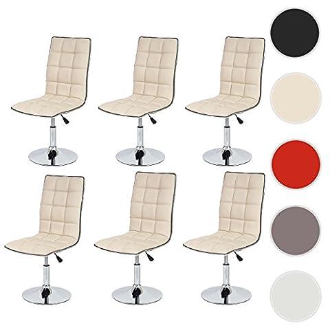Lot de 6 chaises de séjour ou de salle à manger Dieburg, style rétro, similicuir ~ crème