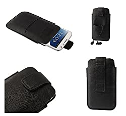 DFVmobile - Leather Pouch Case Pocket Sleeve Bag & Outer Bag & Buckle for Tecno W3 - Black