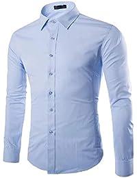 41ee4deae7861c Gdtime Homme Chemise Manches Longues Slim Fit Uni sans Repassage Chemises  Casual Classique Business Taille Plus