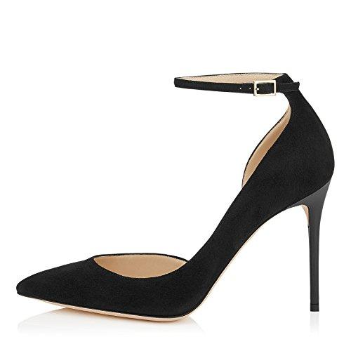 uBeauty Damen Stilettos High Heels Knöchelriemchen Pumps Übergröße Seite Hohl Ankle Buckle Strap Schuhe Schwarz