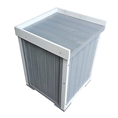 Auflagenbox stabile Gartenbox mit Sitz für Garten und Terrasse für eine Person aus Holz | Farbe: weiß/grau von Moorland