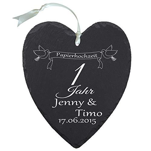 """Schieferherz """"Papierhochzeit"""" - individuelles Herz aus Schiefer mit Namen bedrucken - Geschenk für Ehepaare zu 1. Ehejubiläum"""