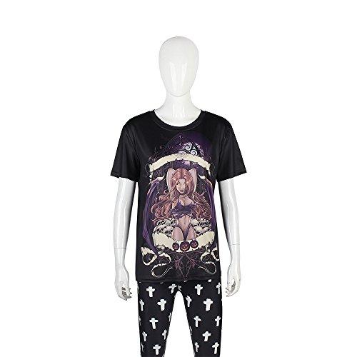 Frauen Halloween Pulloverfrauen Männer Halloween Jumperhalloween Europa Und Die Vereinigten Staaten Drucken Frauen Street Parade Zombie Pin Muster T-Shirt, M 3D