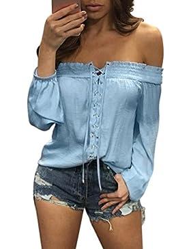Koly_Donna Summer Elegante Chiffon Fashion allentato casuale camicetta spalla Off Maglietta Senza Spalle Donna...