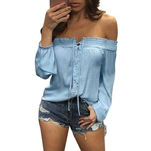 Koly_Donna Summer Fashion allentato casuale camicetta spalla Off (L, Blu)