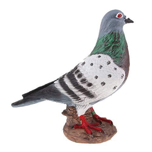 B Blesiya Künstliche Tauben Gartenfigur Vogel Zaun Baum Balkon Garten Deko - Weißgrau -