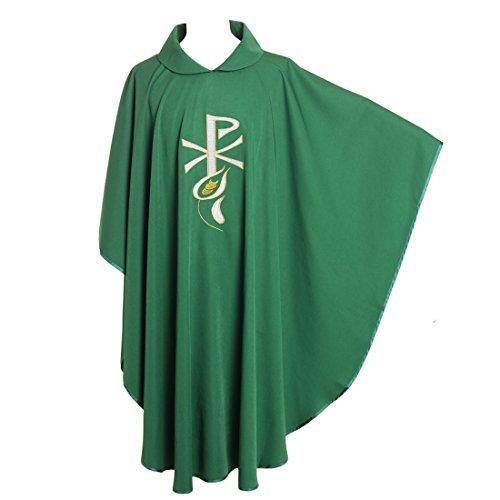 Priester Kostüm Der Katholische - BLESSUM Priester Messgewand Steinschmätzer Gestickt Masse Gewandung Falten Collared Robe Grün