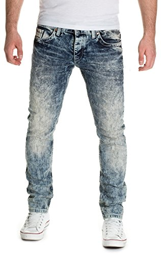Man1x Herren Jeans Slim Fit Blau