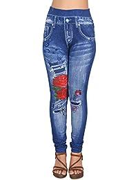 7b4a7ac581 Ziva Fashion Girls Womens Blue Poly Cotton Printed Pull On Slim Fit Leggings  Jeggings