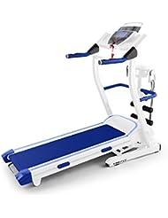 Klarfit Pacemaker FX5 Cinta de correr Blanco Azul (1.5 CV, 12 km/h, pulsometro, masaje abdominales, altavoz, AUX, entrenador digital, consumo calorías, variación inclinación, pantalla LCD)