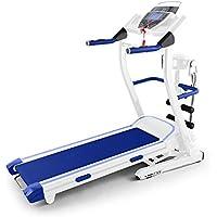 Klarfit Pacemaker FX5 nastro tapis roulant professionale salva spazio (pieghevole, 1103 Watt, 12 km/h, cardiofrequenzimetro, barra per sit-up, fascia massaggiante, ingresso AUX) - blu - Attrezzature Per Il Fitness Allenamento Tapis Roulant