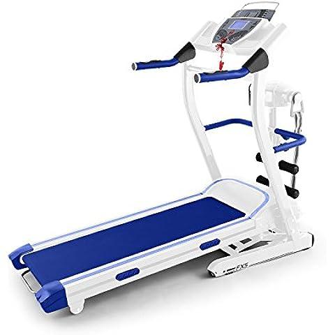 Klarfit Pacemaker FX5 cinta de correr (1,5 CV, 12 km/h, pantalla LCD, pulsómetro, masaje abdominales, altavoz, AUX, entrenador digital, consumo calorías, inclinación ajustable) - blanco