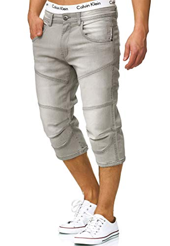Indicode Herren Fortune Denim 3/4 Stretch Shorts Lt Grey XL