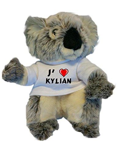 Peluche koala personnalisé avec un T-shirt J'aime Kylian (Noms/Prénoms)