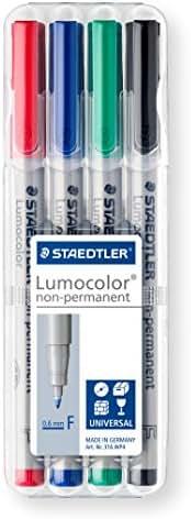 Staedtler feutres universels Lumocolor, non-permanents, point fine 0,6 mm, 4 couleurs assorties en étui chevalet Staedtler, 316 WP4