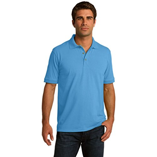 Port & Comapany Men's Big And Tall Knit Polo Jersey_Aquatic Blue_Large Tall (Tall Poloshirt Big Herren)