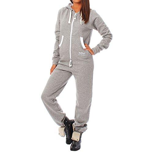 GB4 Finchgirl Damen Jumpsuit Jogging Anzug Trainingsanzug Overall Hellgrau S