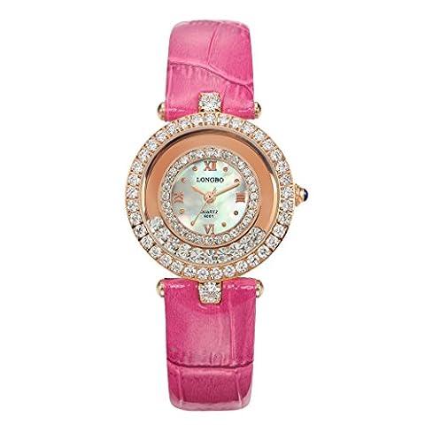 Longbo pour femme Or rose Fashion Business montres à quartz analogique Rose rouge Croco Bande de cuir Cristal Strass Accentuée Cadran Bracelet montre-bracelet Big Face étanche Robe Horloge et montre pour