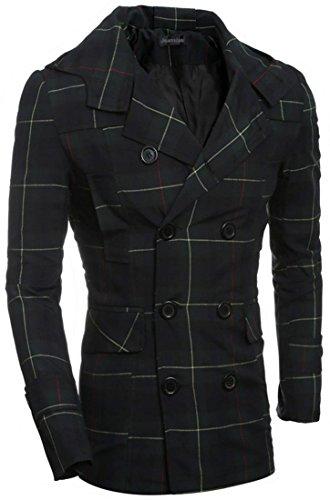 jeansian Uomo La Bella Figura Moda Pulsanti Doppie Giacca Tuta Lana Cappuccio Hooded Blazer 9540 DarkGreen M