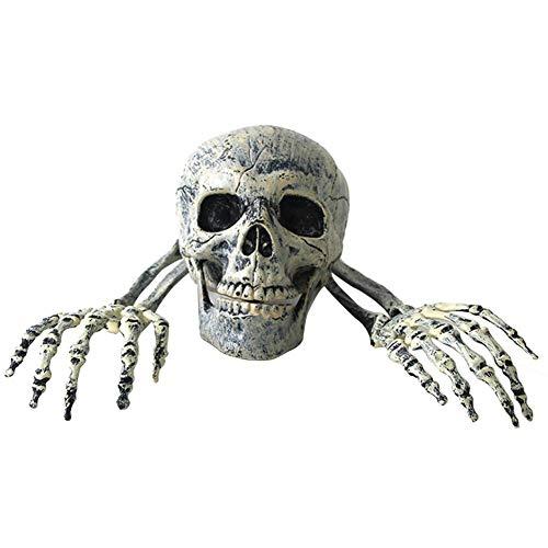 1.2020 Knochen Weihnachten Requisiten 100 Kunststoff realistische menschliche Knochen Schädel Kopf Statue mit Schal Horror Halloween Party Dekoration (Gefangener Der Liebe Kostüm)