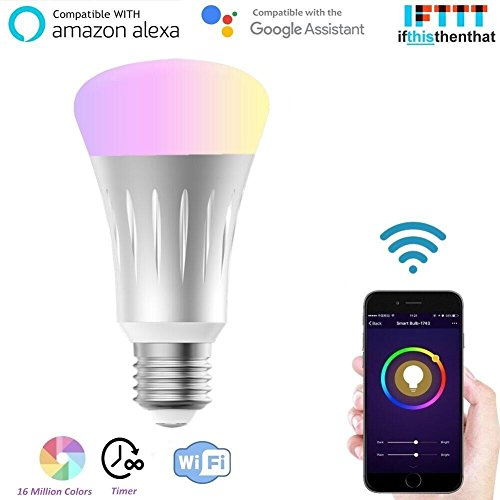 Lombex WiFi Led Light Bulb Smart Light E27 Edison Bulb Compatible With Alexa RGB Color Changing Mood Light Controlled By Smart Devices No Hub Required For Relaxation, Party Lights…7W