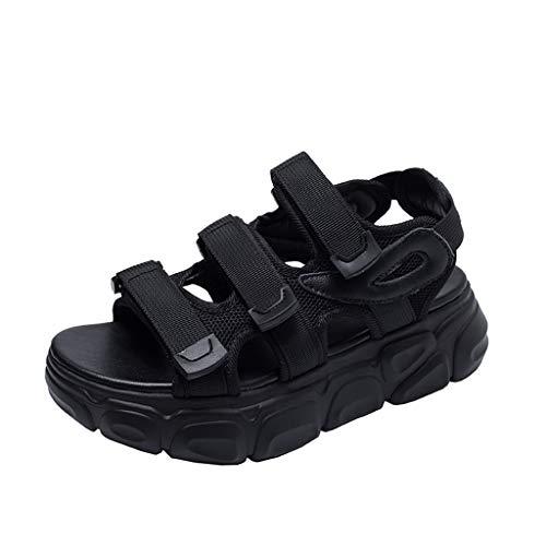 BASACASandalenDamenSport Neutral Open Toe Solide Casual Plateausandalen Hook & Loop SommerKlettverschluss SchuheFrauMode2019 (39 EU, Schwarz) Bally Loafer
