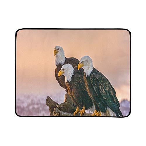 KAOROU DREI amerikanische Weißkopfseeadler-Stange auf tragbarer und Faltbarer Deckenmatte 60x78 Zoll handliche Matte für kampierenden Picknick-Strand -