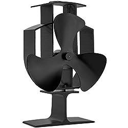 Vonhaus Ventilateur pour Poêle à 3 pales - Alimenté à la Chaleur à Bois/bûches - Aluminium Noir