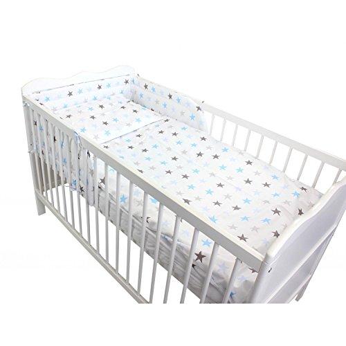 TupTam Baby Bettwäsche mit Nestchen Gemustert 3-TLG, Farbe: Sterne Blau 2, Anzahl der Teile:: 3 TLG. Set