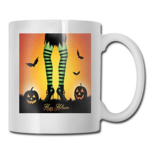 Jolly2T Funny Ceramic Novelty Coffee Mug 11oz,Cartoon Witch Legs with Striped Leggings Western Concept Bats and Pumpkins Theme Print,Unisex Who Tea Mugs Coffee Cups,Suitable for Office and Home