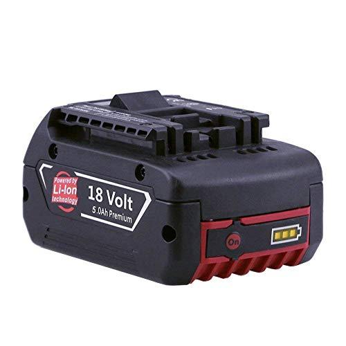 Powayup 18V 5.0Ah Batterie di ricambio agli ioni di litio per Bosch GBA BAT609 BAT610G BAT618 BAT618G BAT619 BAT620 Utensile elettrico per trapano a batteria Capacità estesa con indicatore LED