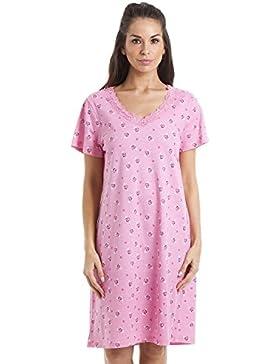 Camicia da notte - cotone - fantasia a fiorellini e cuori - rosa chiaro