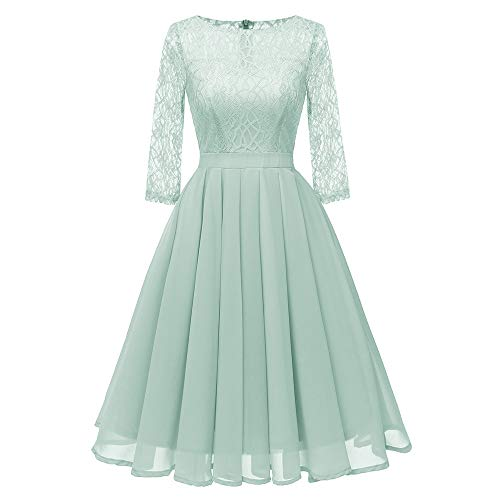 eid, Zolimx Frauen Vintage Princess Floral Lace Abend Cocktail O-Neck Party Aline Swing Kleid ()
