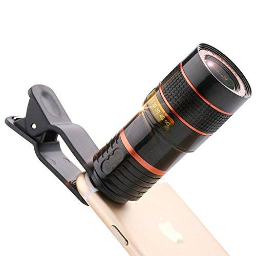 Kit d'objectifs pour téléphones portables - Objectif macro avec zoom optique x 12 et mise au point - Clip universel - Goodsmiley