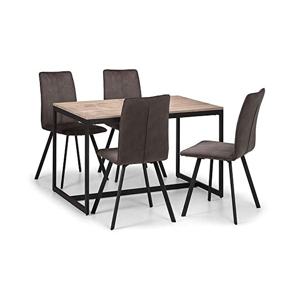Julian Bowen Tribeca Dining Set with 4 Monroe Chairs Julian Bowen Stunning oak foil Black coated metal frame Three table nest offers great versatility 2