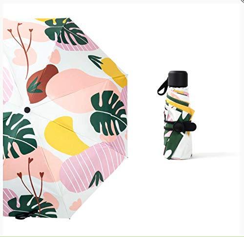 Sonnenschirm, 6 Knochen, Vinyl-Feld-Verstärkung, 5-Fach faltbar, Anti-Licht, frische kreative Blumen, klein - Blume, 90 Kapseln