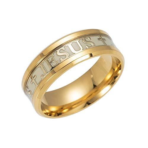 ief Edelstahl Männlicher Ring 4 Farben Glow In The Dark Trauringe Für Frauen EIN einzigartiger Ring kann Ihnen viel Glück bringen Gold 6 ()