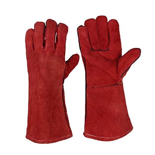 JZK Schwerlast groß Leder Hitzefeste Handschuhe Grillhandschuhe Kaminhandschuhe für Holzbrenner BBQ Schweißen, Gartenhandschuhefür Männer