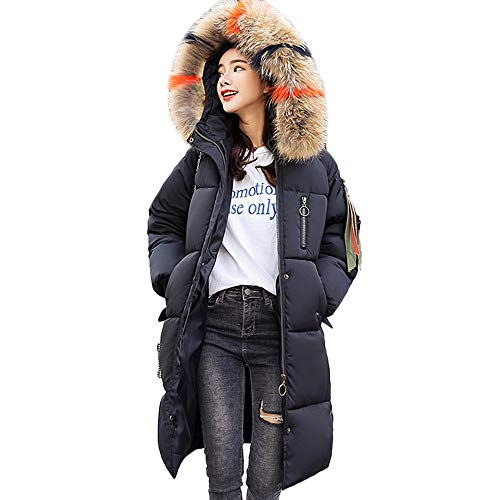 Oyedens Damen Winter Mantel Steppmantel Moonshine Damen Jacke Lange Dicke Warme Daunenjacke Parka Mäntel Winterjacke Daunenmantel Lange Reißverschluss mit Kapuze mit Pelz Halsband