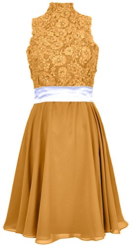 MACloth Women High Neck Lace Chiffon Short Prom Dress Cocktail Party Formal Gown Gold