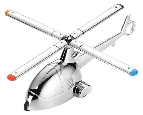Troika Schreibtischobjekt/Briefbeschwerer \'Ready 4 Take Off\', Helikopter mit Magnet für Büroklammern und Rückziehmotor