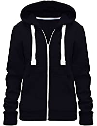 Home ware outlet Ladies Womens Plain Colour Hoodie Zip Sweater Hood Plus  Size (UK 8 11ae657136