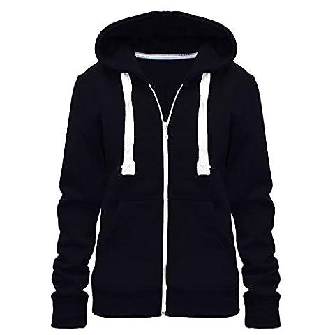 Ladies Womens Plain Colour Hoodie zip sweater hood plus size (UK 8-28) (UK SIZE 6XL=24, black)