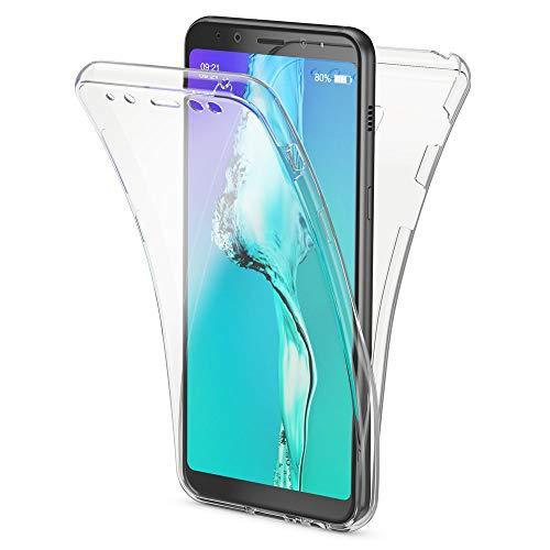 NALIA 360 Grad Hülle kompatibel mit Samsung Galaxy A8 (2018), Full Cover Handyhülle vorne & hinten Schutz, Ganzkörper Case Silikon Etui Dünn Transparenter Displayschutz & Rückseite, Farbe:Transparent