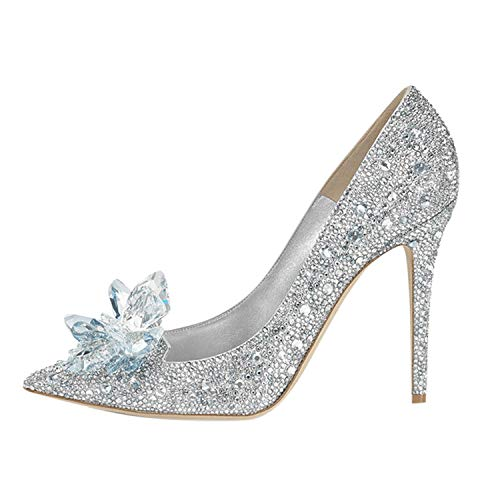d3ca1739ad9 Frestepvie Women's Bridal Wedding Stiletto Pumps Sparkly Prom Party Crystal  Court Shoes Ladies Pointed Toe Diamond Flower Kitten Heel Dress Shoes