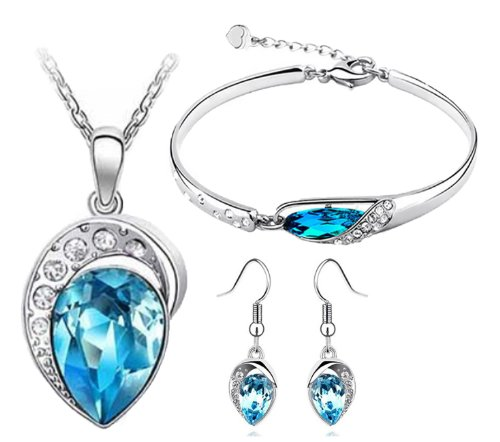 Cyan Ocean Blue Austrian Crystal Jewellery Set Combo Of Leaf Pendant Necklace ,Earrings And Bracelet For Women  available at amazon for Rs.449