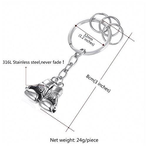 MESE London Boxhandschuhe Schlüsselbund Silber Sport Schlüsselanhänger Abbildung 3