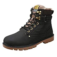 FWEIP Men's Backpacking Boots Fashion Winter Plus Velvet Sports Sneaker Waterproof Non-Slip Cotton British Tooling Boot