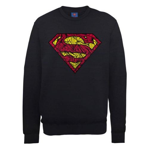 DC Universe Herren Sweatshirt Dc0000956 Dc Comics Official Superman Shatter Logo Schwarz - Schwarz
